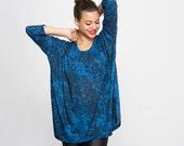 Women loose top Blue Camo print Long Sleeve tshirt women blouse print blue tunic box fit