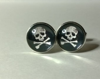 Skull and Crossbones , Jolly Roger Glass domed Cufflinks