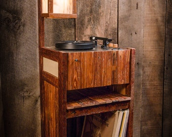 Salvaged Wood Turntable with Lamp - Floor Model