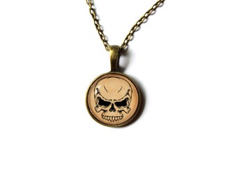 Tribal skull charm Gothic pendant Macabre jewelry Antique style NW143
