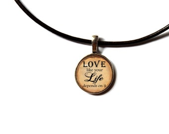 Quote necklace Love word pendant Dictionary jewelry Antique style NW81