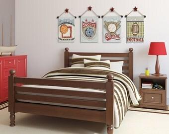 art for sports room- boys bedroom art- football, basketball, baseball, soccer- sports theme bedroom- vintage sports-