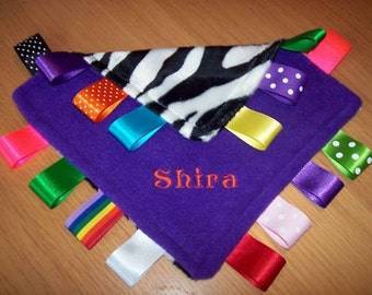 Personalised  or Unpersonalised Taggy Blanket/Comforter/Gift in Purple