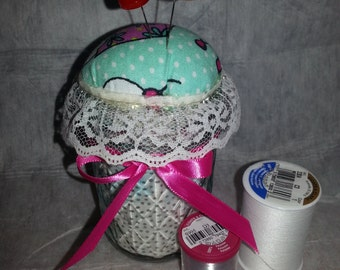 Pincushion in a small canning jar-handmade-unique-vintage-retro