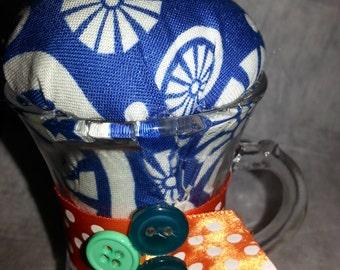 SALE!!  Pincushion in a tiny glass mug-unique-handmade-retro-vintage