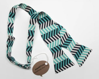 Freestyle Chevron Bow Tie - Handmade Men's Bow Tie - Self-Tie Bow Tie - Navy Blue Bow Tie - Teal Bow Tie - Striped Bow Tie