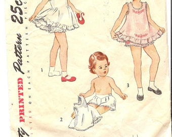 Simplicity 2558   1940's Children's and Girls Slip and Panties    ID228