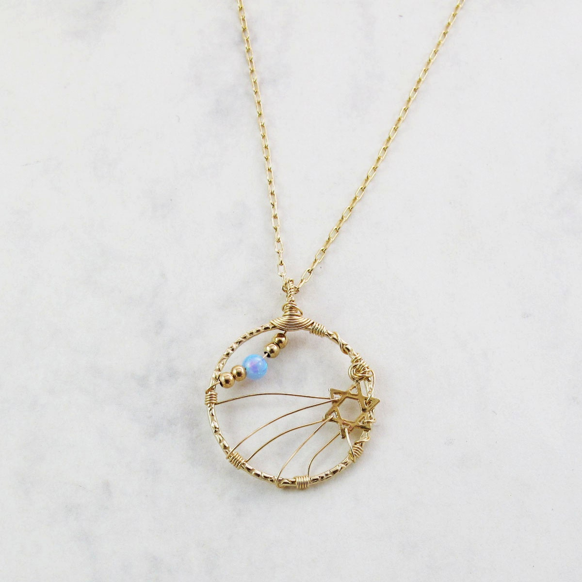 "Magen David necklace with Light Blue opal - ""Blue Sky ahead"""