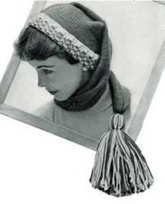 Knit Stocking Cap Pattern : Knitted stocking cap knitting pattern 1955 Hat head