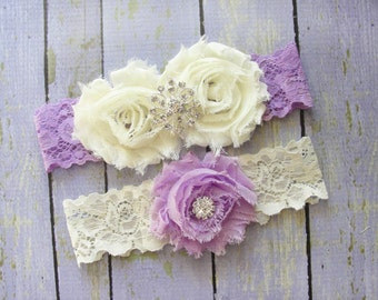 Purple Garter Set, Lilac Garter, Purple Wedding Garter, Ivory Bridal Garter, Purple Lace Garter, Garter Wedding