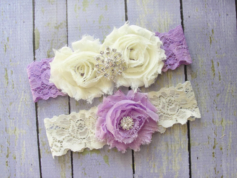 Purple Garter Set Lilac Garter Purple Wedding Garter Ivory