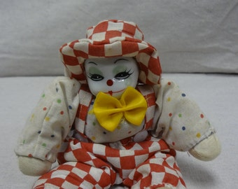 Porcelain Face Checkered Clown - E0034