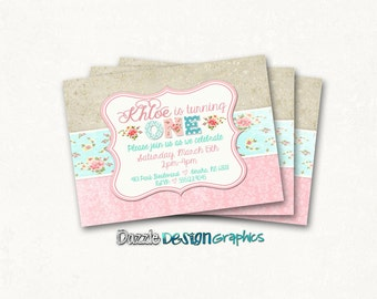 Printable Shabby chic Vintage birthday invitation | pink floral with mint aqua gold or purple teal | Rustic shabby | #229 Digital or Prints