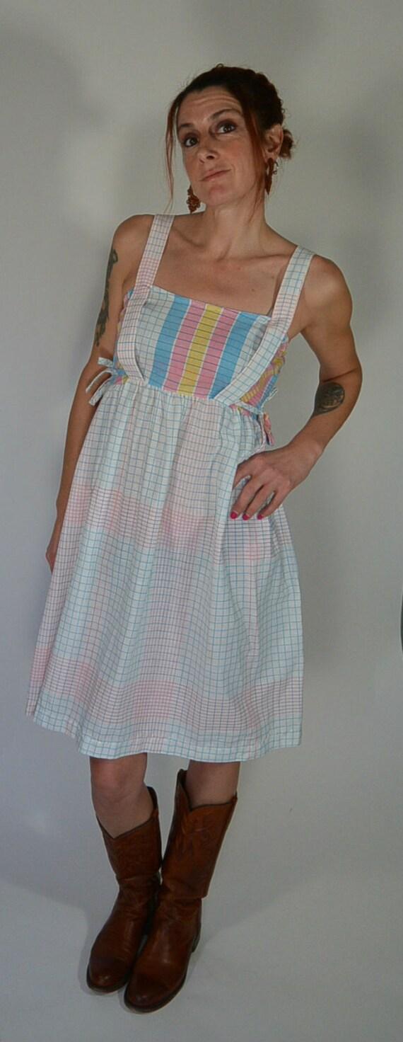 70s Apron Dress//Summer Dress//Vintage Sun by CoupDetatVintage