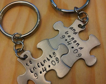 Hand Stamped Keychain - Personalized Keychain To Infinity and Beyond with Dates Couples Puzzle Piece