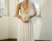 Custom made maxi chiffon wedding dress, New Ivory sequins Wedding dress Bridal Gown custom size 4-6-8-10-12-14 - MotilFineDesign