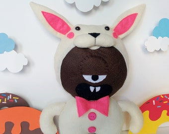 Easter Bunny Donut Monster Plush - Chocolate, Brown, Bunny Monster