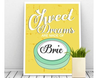 Funny Kitchen Art, Yellow Kitchen Decor, Retro Kitchen Art, Instant Download Art, Sweet Dreams Art, Cheese Picture, Funny Art
