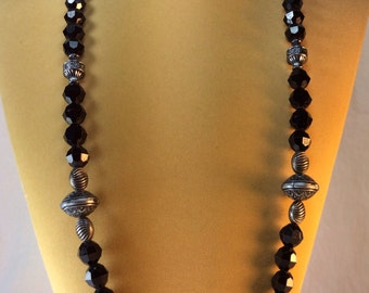 Vintage Necklace, Long,  Black & Silver Beads
