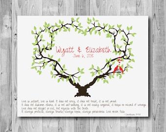 Wedding Tree Print, Anniversary Art Print LOVE IS PATIENT - 157