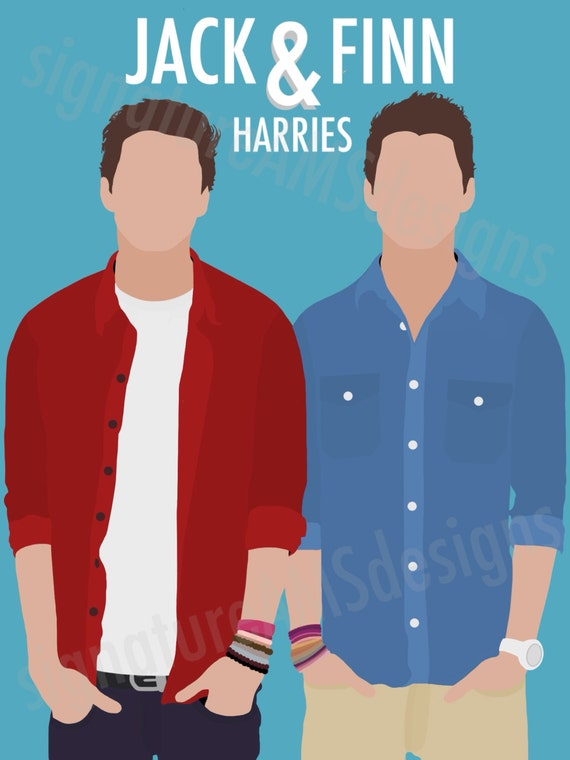 Minimalist Digital Artwork of the YOUTUBERS - Jack and Finn Harries from JACKSGAP. ( 11.7x16.5 inches / A3 )