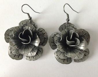 Antique Silver Rose Earrings