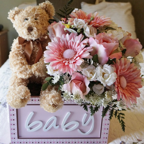 baby shower arrangement flower arrangement teddy bear its a girl