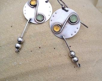 Sterling silver earrings , handmade ,  Aventurine and Citrine  stones ,  Unique earrings , Earrings with Gemstones