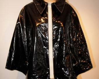 CAPE - AUTHENTIC Mod 1960's Faux Patent Leather Black Cape 60's Vintage Saks Fifth Avenue   Museum Quality     WildRosesVintage