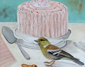 the party Original paint on canval acrylic bird art, cake, sweet tea room art, canary art - Birdscolour