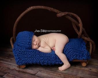 Knit Baby Blanket Car Seat Cobalt- Sweet Pea Blanket