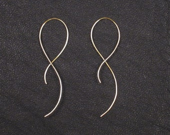 14K Gold earrings, wire earrings, silver earrings, minimalist wire earrings, simple gold earrings, minimal, nickel free