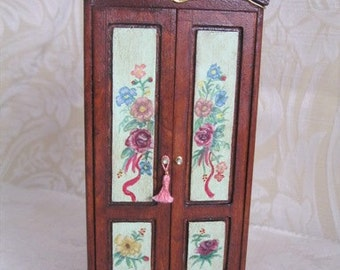 Wardrobe miniature with floral pattern for dolls houses