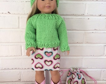 American Girl Doll clothing - Skirt and sweater set