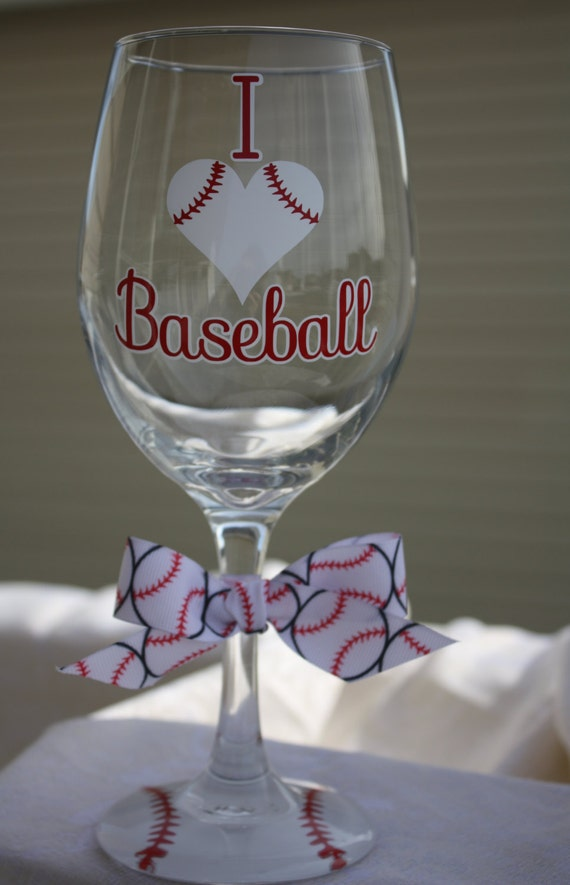 I Love Baseball Extra Large Wine Glass For The Baseball