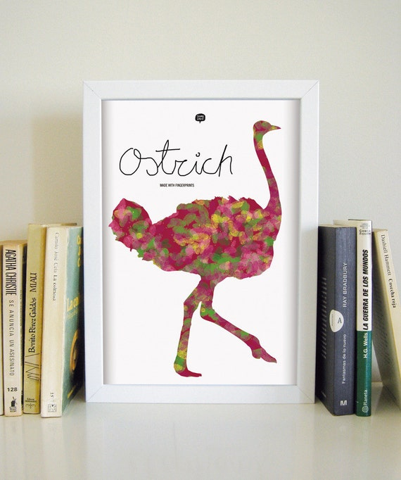 Wall art decor.  Picture ostrich. Fingerprint. Printable art. Digital print. Illustration. Instant digital download