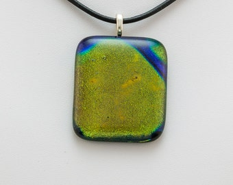 Dichroic fused glass rectangular pendant, black, blue, green and gold