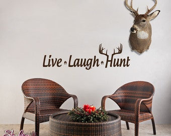 Live Laugh Hunt Deer Antler Wall Decor Wall Words Decal