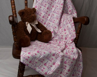 Oversized Flannel Receiving Blanket - I Love Mommy, I Love Daddy Print