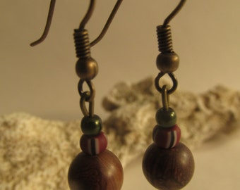 2156 - Earrings Wood, Ceramic and Metal