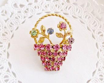 Vintage Brooch, Rhinestone Brooch, Flower Basket Brooch, Pink Rhinestone Pin, Flower Basket Pin, Spring Flower Brooch, Pink Rhinestones