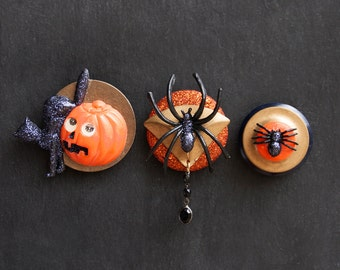 3 Halloween Fridge Magnets - black cat, pumpkin, spiders - plastic, glitter, brass - refrigerator decor