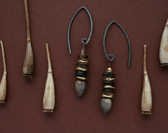 ethnic earrings with coconut shell, Job's tears seeds and brass - natural jewelry - handmade oxidized silver ear wires