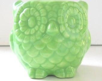 Owl Planter, Ceramic Owl, Mini Owl, Desk Planter Vintage Design in Sea foam Green Office Gift Succulent Pot, Cactus Planter, Teacher Gift