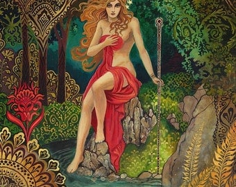 Empress Tarot Goddess Miniature Altar Art Nouveau ACEO Pagan Mythology Psychedelic Bohemian Gypsy Goddess Art
