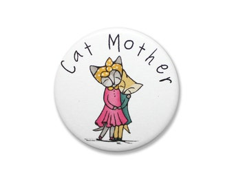 Mothers day badge Pins fridge magnet - brooch perfect mum - cat mother - purrrfect - gift present card