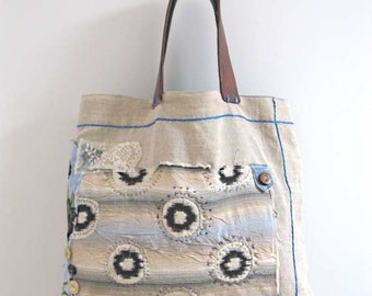 Antique Linen Bag, Featured in Haute Handbags Magazine, Reverse Applique, Leather, Ikat, Recycled, Ecru, Blue, Brown, Boho, Rustic