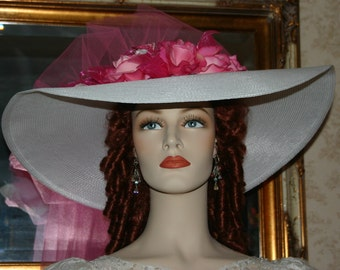 Ascot Hat Kentucky Derby Hat Wide Brim Tea Hat Titanic Hat Somewhere in Time Hat Downton Abbey Hat Edwardian White Hat - Sweetheart of Miami