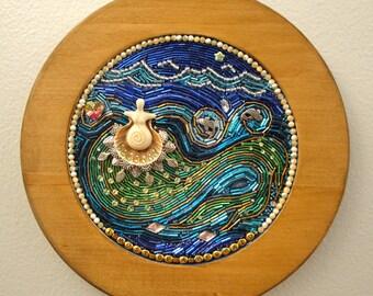 I Must be a Mermaid beaded mosaic art