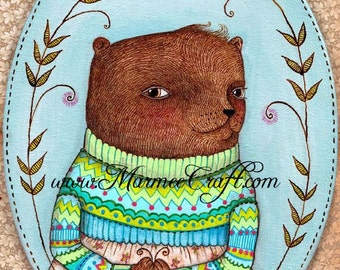 "Bear art print, ""Sweater Bear"""